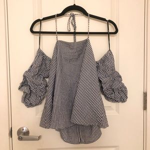 Navy & white gingham halter with puff sleeves